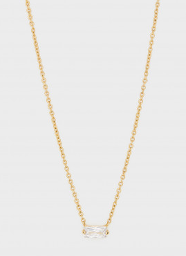 Amara Solitaire Necklace White/Gold