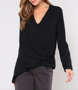 Black Wrap Blouse