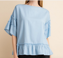 Chambray Tiered Slv Top