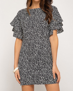 Double Ruffle Sleeve Dress
