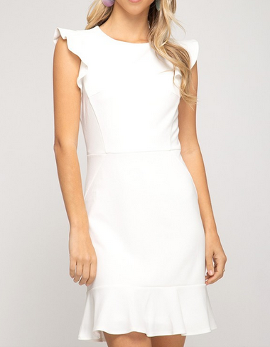 White Ruffle Sleeve Dress