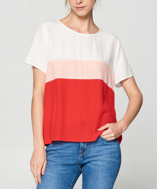 Red Colorblock Woven Top