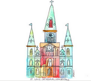 Watercolor Cathedral Print