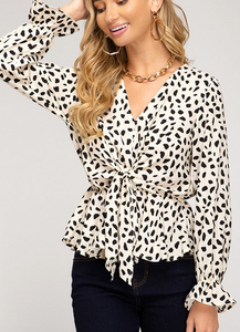 L/S Front Tie Cheetah Top