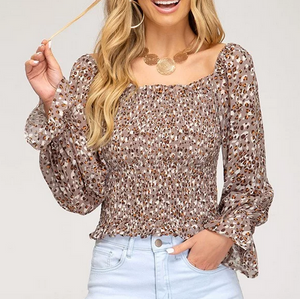 L/S Mauve Printed Smocked Top