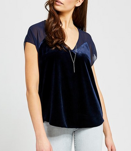 Navy Velvet Sheer Top