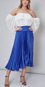 Pleated Smocked Waist Midi Skirt