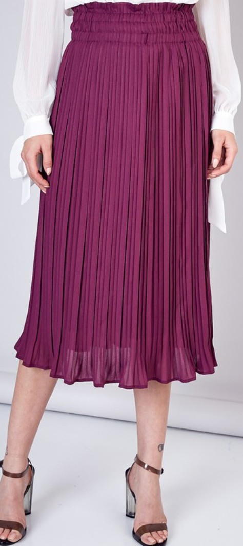 Pleat Midi Skirt