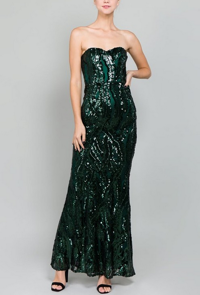 Green Sequin Strapless Long Dress