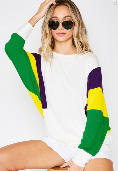 Mardi Gras Sleeve Scoop L/S Top
