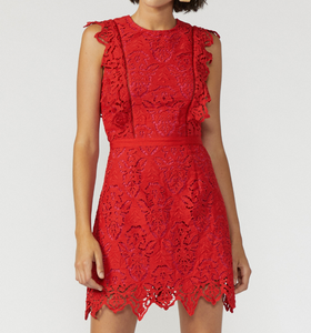 Red Fuchsia Lace Overlay Dress