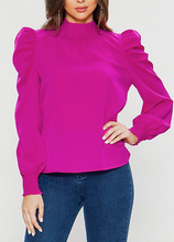 Mock Neck Puff Sleeve Top