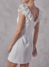 White Ruffle Neck Dress