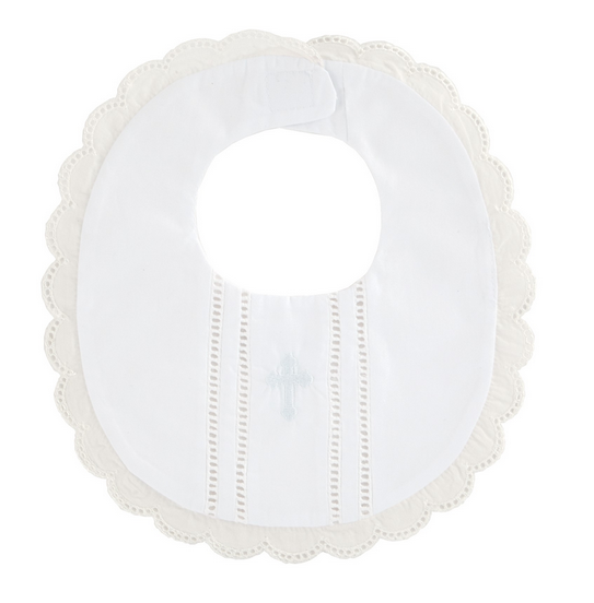 Scalloped Christening Bib