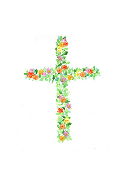 Cross with Flowers Towel
