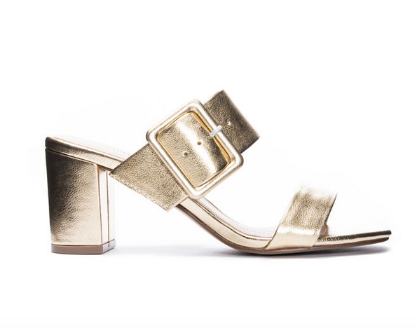 Metallic Gold Slide Sandal