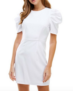 White Rouched Slv. Dress