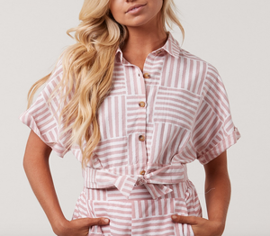 Pink Stripe Boxy Top