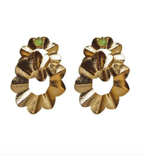 Gold/Emerald Senorita Interlock Earrings