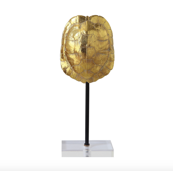 Large Gold Resin Turtle Shell Decor