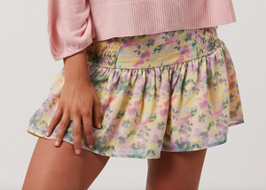 Yellow Floral Smocked Skirt