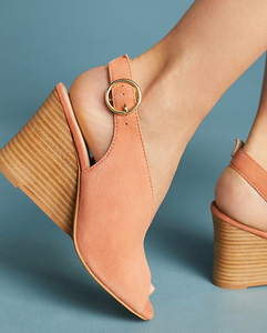 GD Peach Slit Buckle Wedge