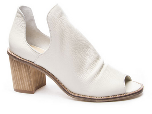 White Slit Side Peep Toe Wedge