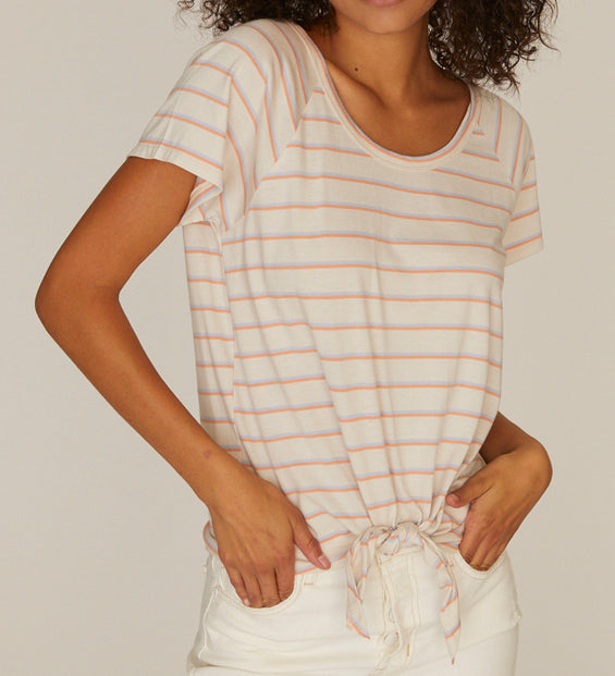 Lou Washed Stripe Tie Tee