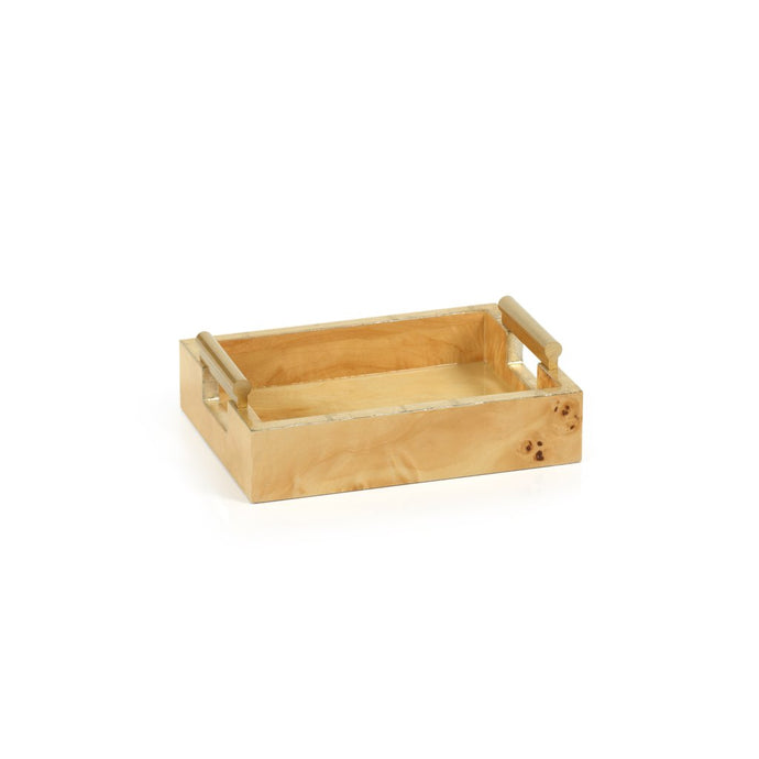 Burl Wood Rectangular All Purpose / Napkin Tray with Gold Handles