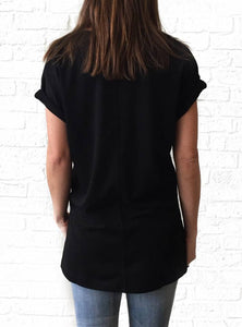 Black Vneck French Tunic-GD