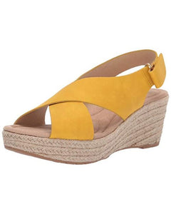 Dream Lemon Yellow Espadrille Wedge
