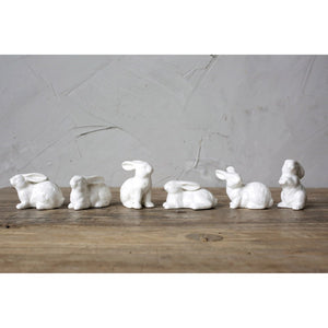 S/6 White Ceramic Bunnies