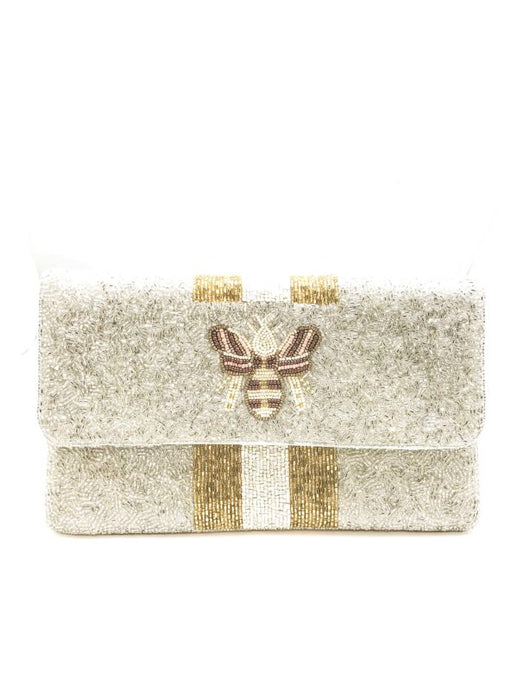 White Bee Beaded Clutch