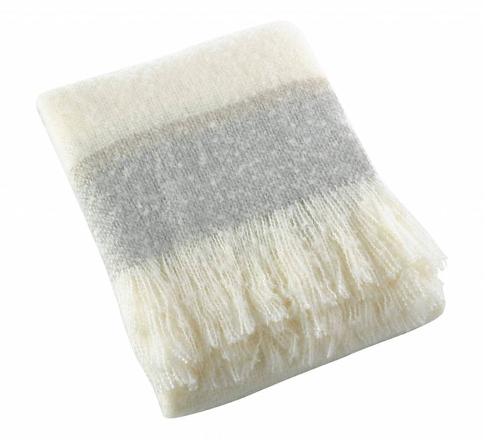 GD-Faux Mohair Throw-Grey Stripe