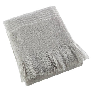 GD-Faux Mohair Throw-Grey