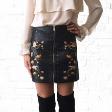 Floral Studded Faux Leather Skirt