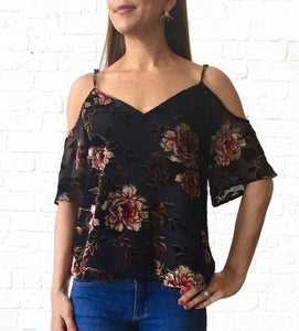 Floral Velvet Burnout Cld Shldr Top