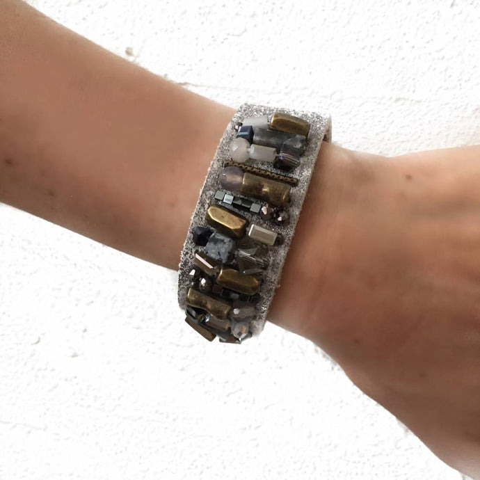 Gray Embellished Leather Bracelet