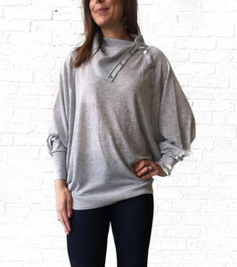 Grey Snap Dolman Sweater  small