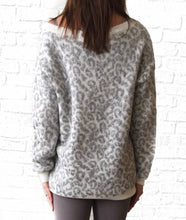 Grey Vneck Cheetah Sweater