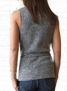 Heather Gray Slvls Sweater w Tie