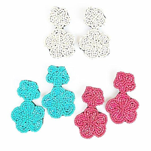 Beaded Flower Drop Earrings
