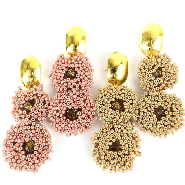 Beaded Flower Earring w/ Stud