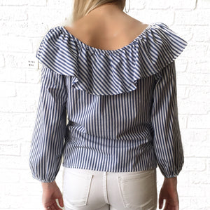 GD V Blue Stripe Blouse