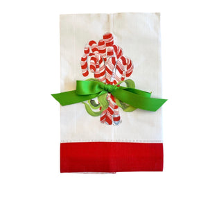 Candy Cane w/ Bow Tea Towel