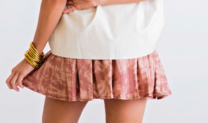 Tie Dye Mauve Satin Smocked Skirt