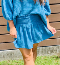 French Blue Smocked Waist Skirt