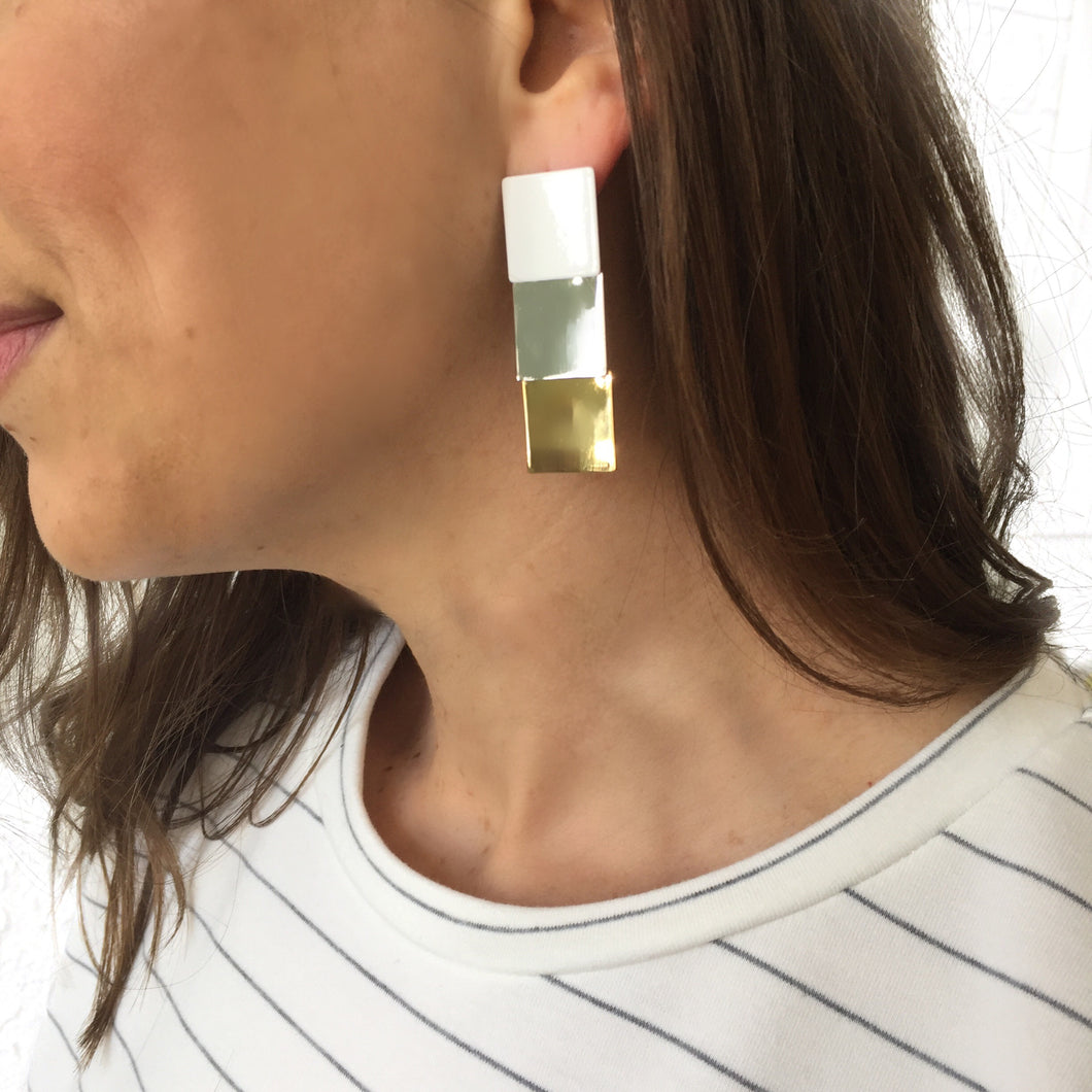 MR-Tri-Tone Square Drop Earrings