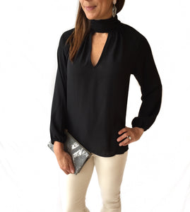 High Neck Keyhole Blouse