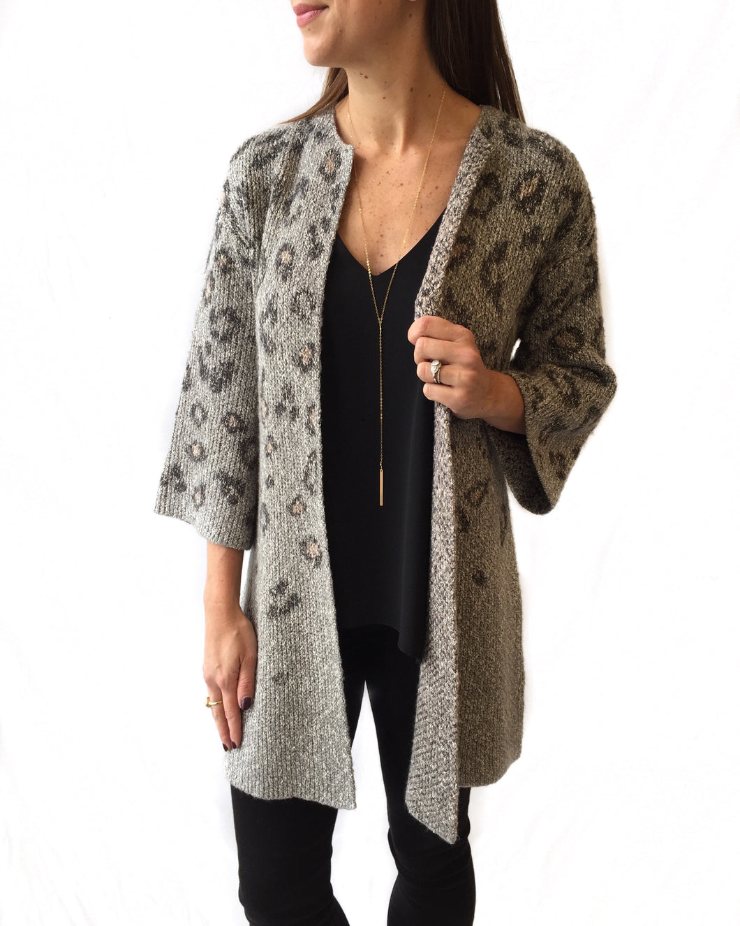 Grey Cheetah Cardigan